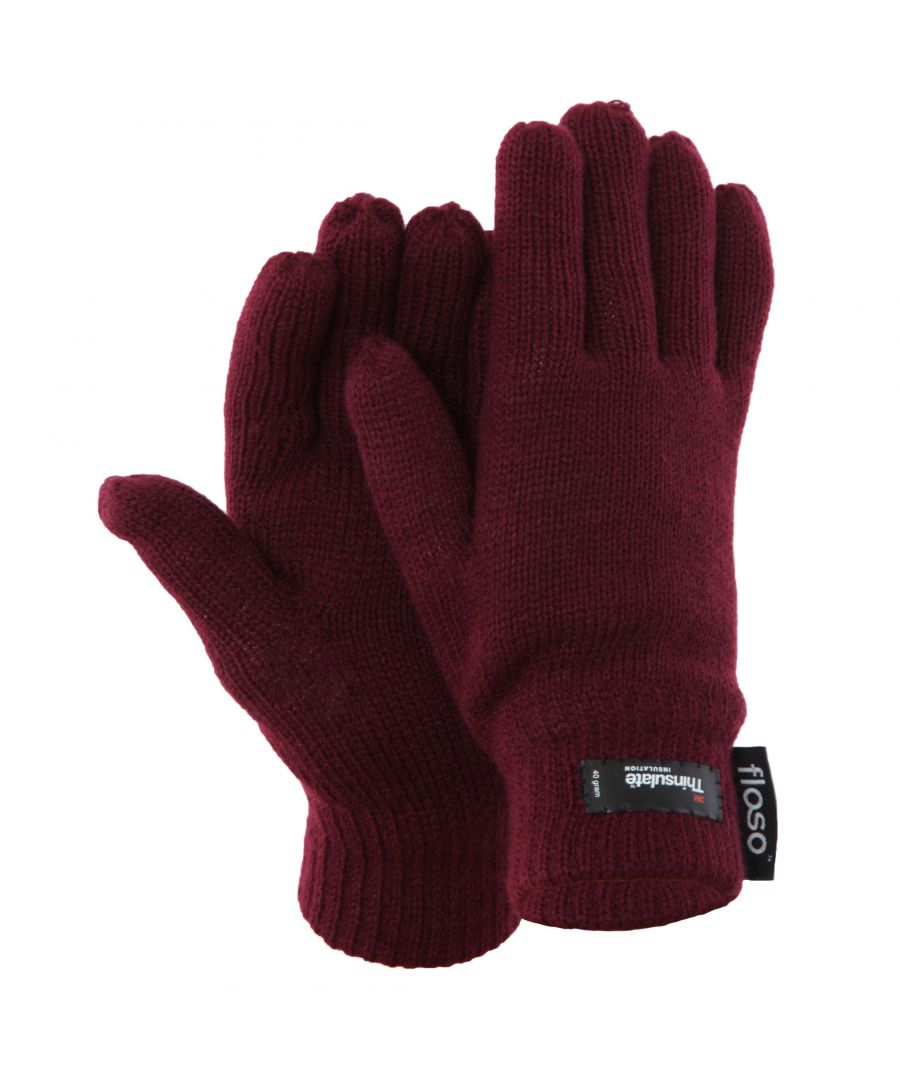 Image for FLOSO Ladies/Womens Thinsulate Thermal Knitted Gloves (3M 40g) (Maroon)