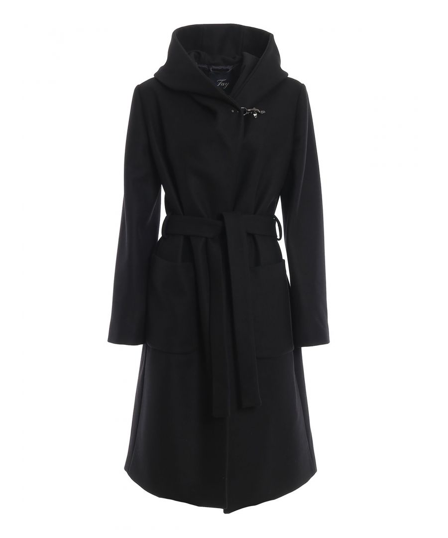 Image for FAY WOMEN'S NAW54393570RCPB999 BLACK WOOL COAT