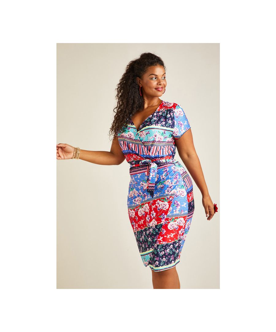 Image for Multi Yumi Curves Patchwork Stripe Jersey Dress