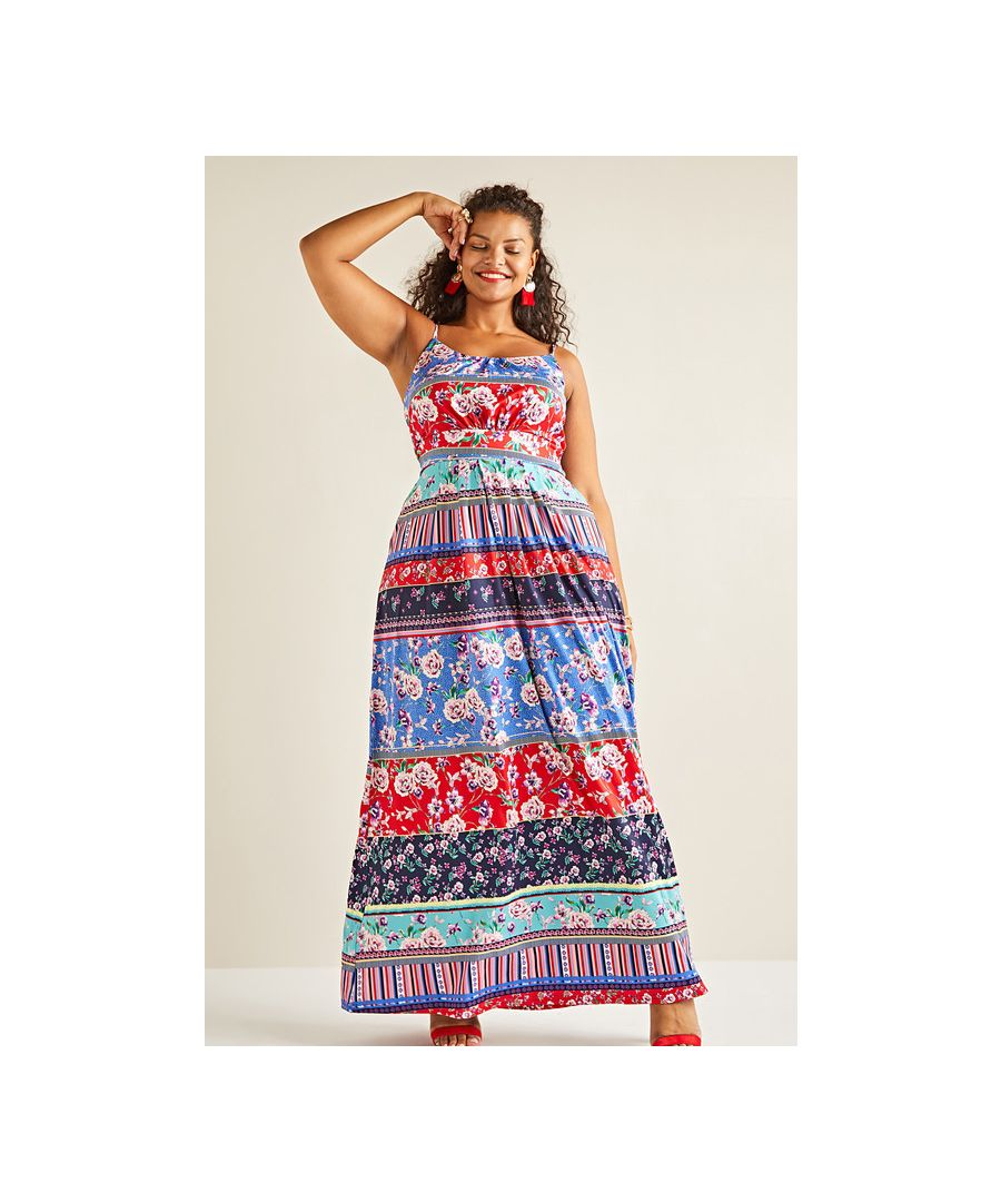 Image for Multi Yumi Curves Patchwork Stripe Jersey Maxi Dress