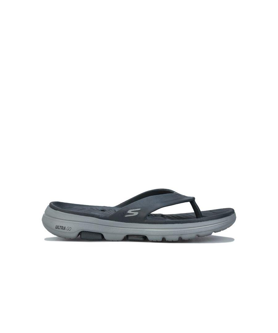 Image for Men's Skechers Go Walk 5 Cabana Flip Flops In Charcoal