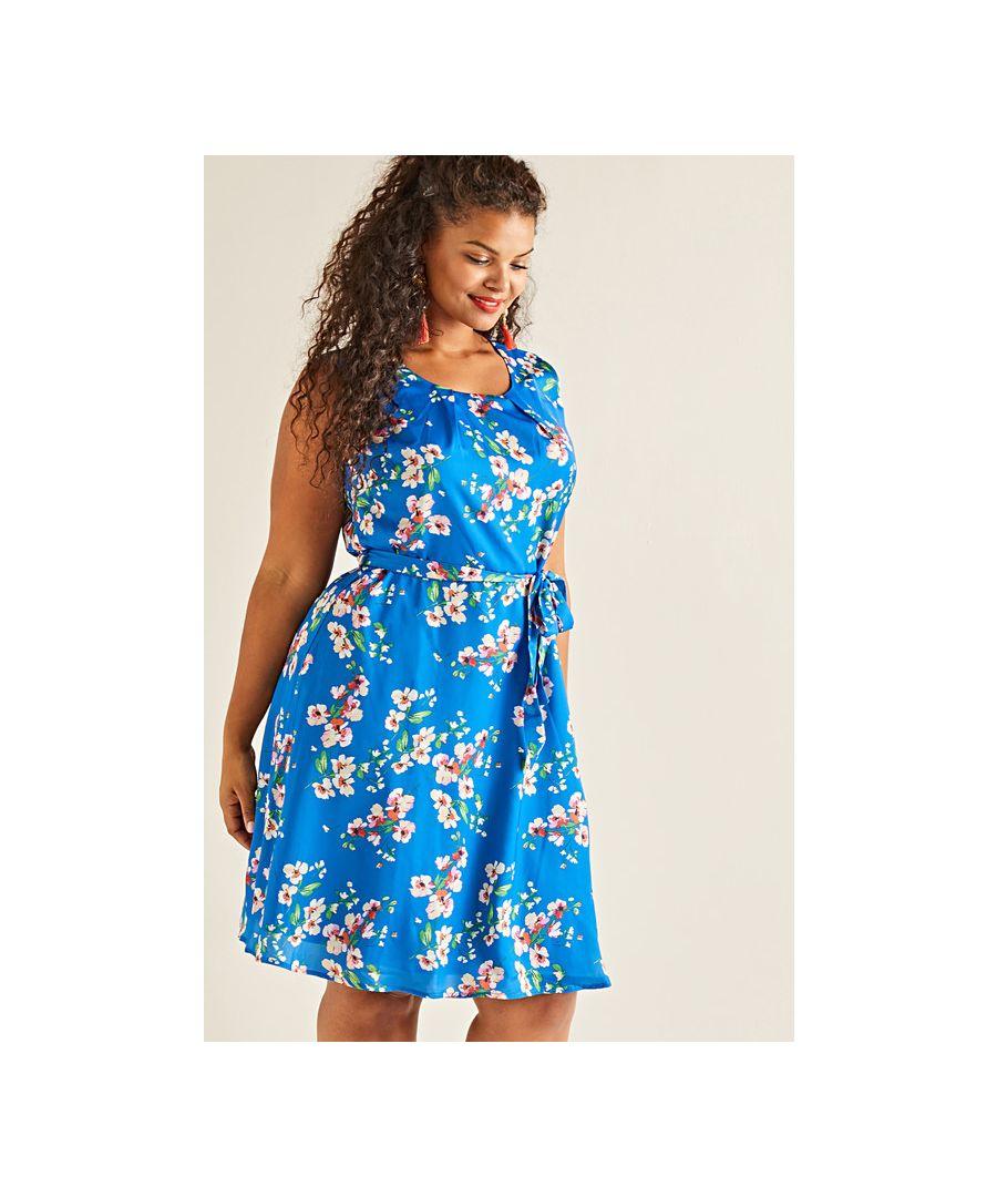 Image for Blue Yumi Curves Spring Flower Print Skater Dress