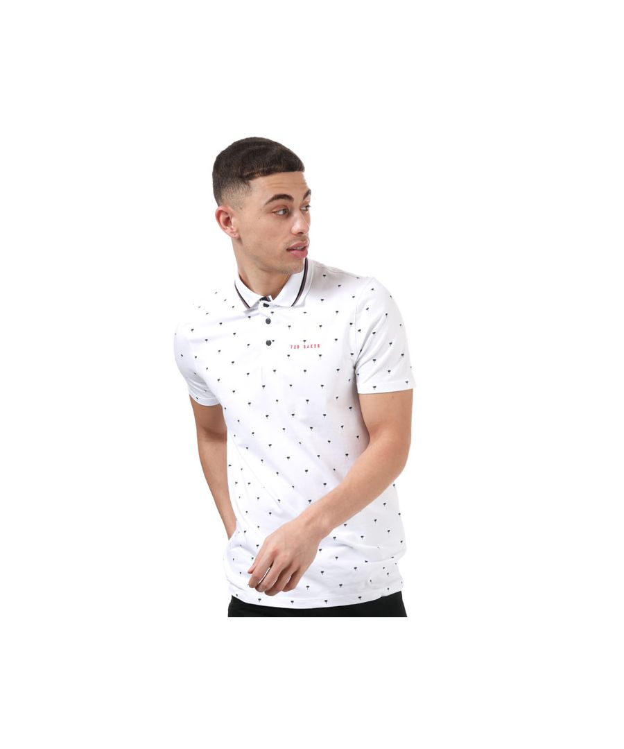 Image for Men's Ted Baker Grass Golf Polo Shirt in White