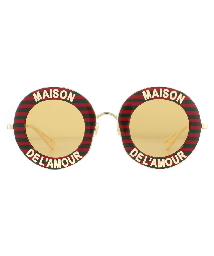 Image for Gucci Sunglasses GG0113S 007 Red Gold Yellow