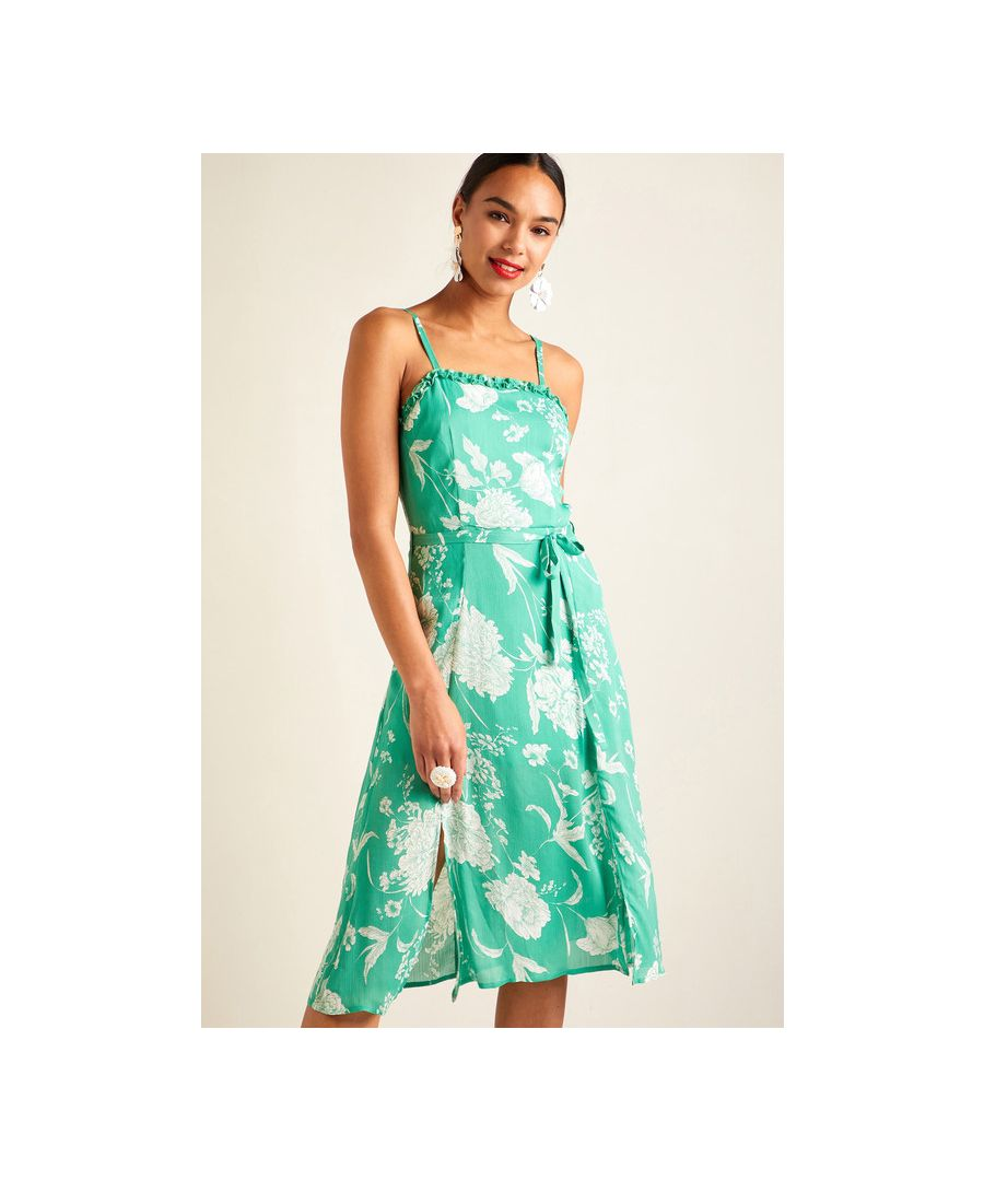 Image for Green Floral Printed Ruffle Strap Dress