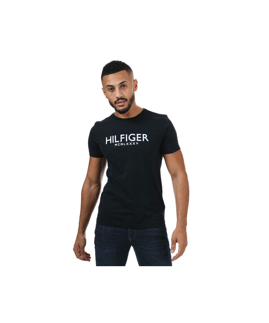 Image for Men's Tommy Hilfiger Palm Print T-Shirt in Navy