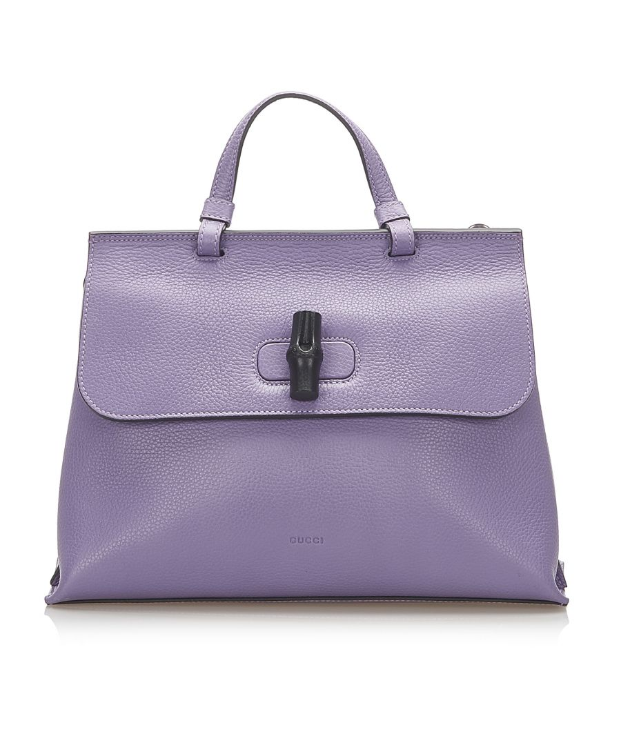 Image for Vintage Gucci Bamboo Daily Leather Satchel Purple