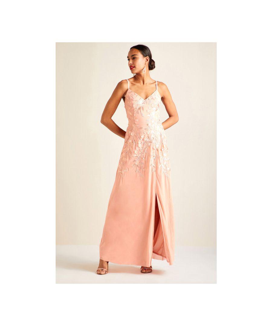 Image for Blush 3D Floral Embellishment Party Dress