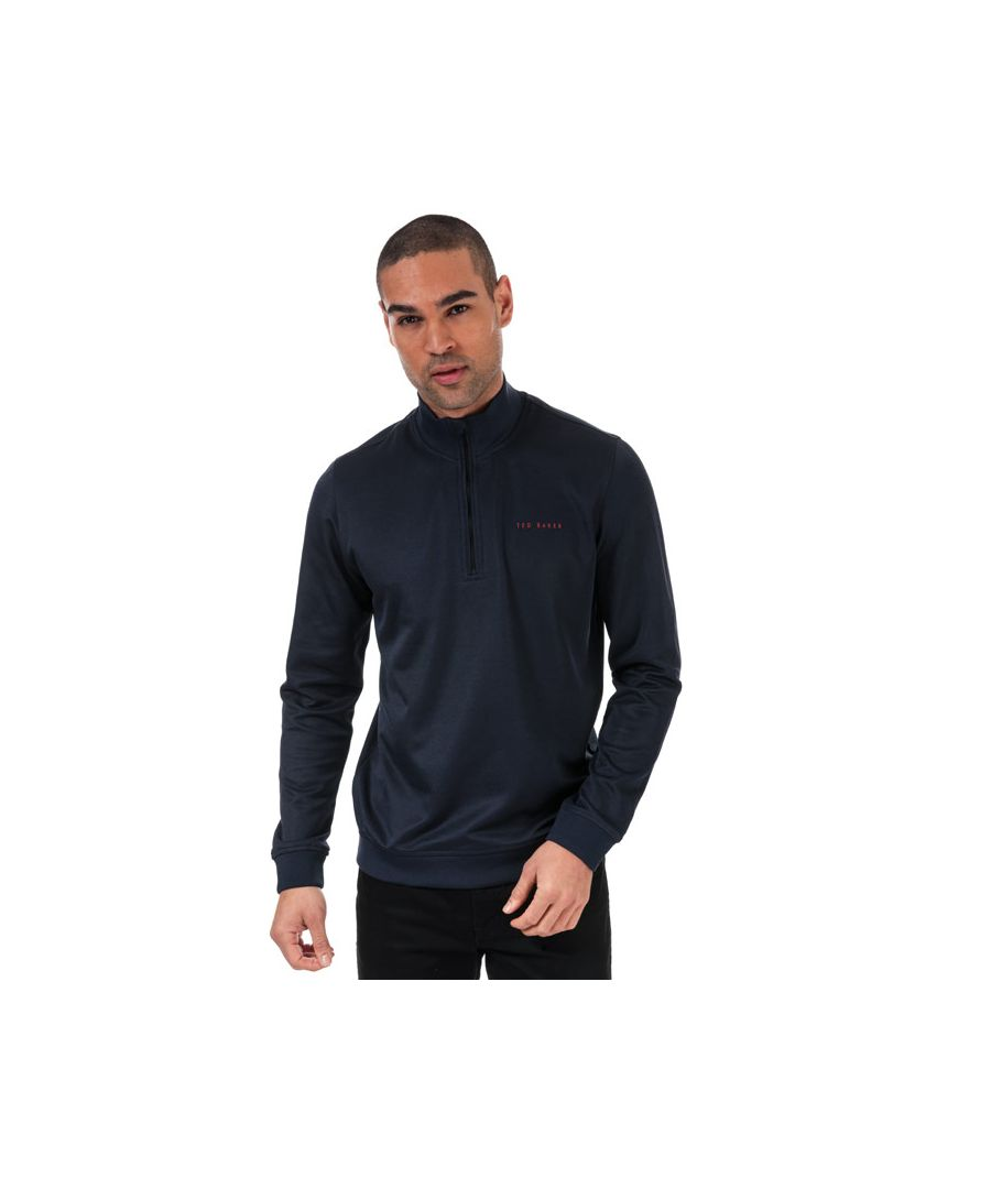 Image for Men's Ted Baker Ryda Half Zip Sweatshirt in Navy