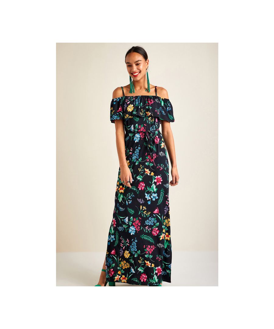 Image for Black Floral Printed Bardot Maxi Dress