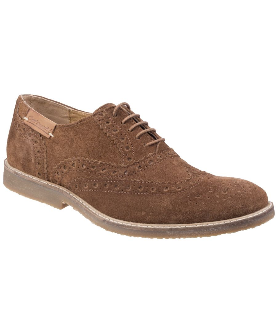 Image for Cotswold Mens Chatsworth Suede Oxford Brogue Lace Up Casual Shoes (Camel)