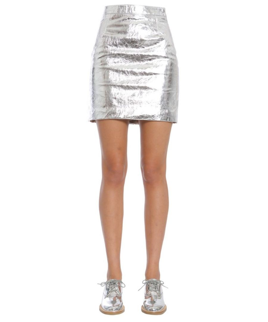 Image for PROENZA SCHOULER WOMEN'S R174520LR15001005 SILVER LEATHER SKIRT