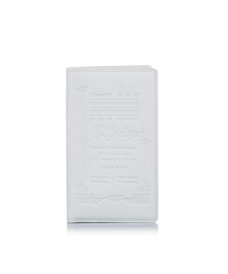 Image for Vintage Bvlgari Elettra Collezione 1910 Leather Passport Holder White