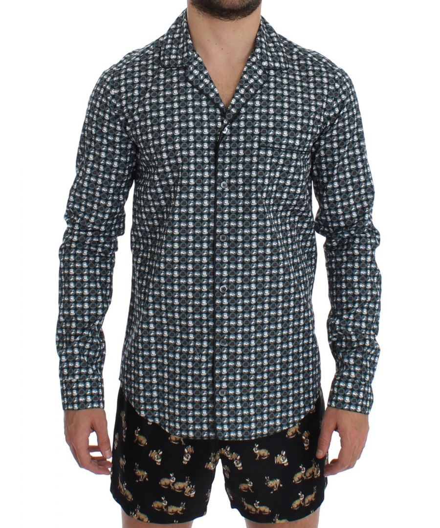 Image for Dolce & Gabbana Green Hat Print Cotton Pajama Shirt Sleepwear