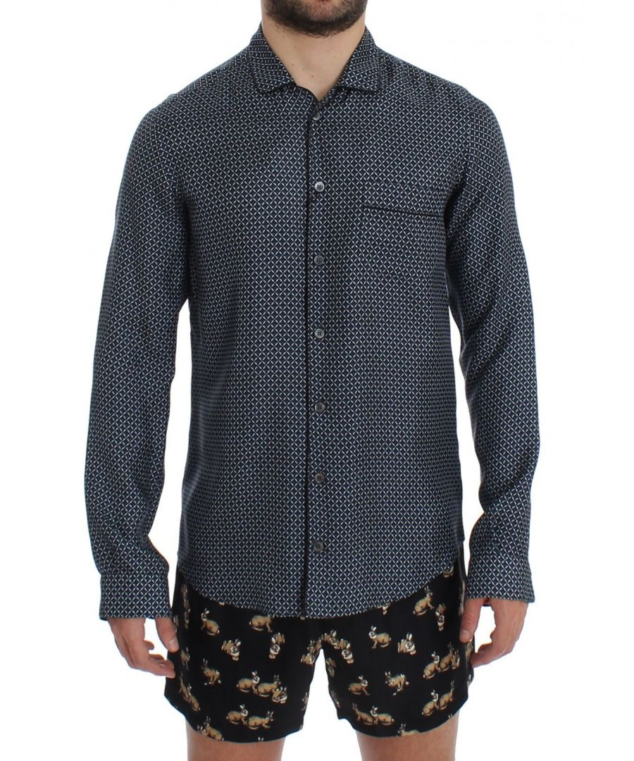 Image for Dolce & Gabbana Blue Motive Print SILK Pajama Shirt Sleepwear