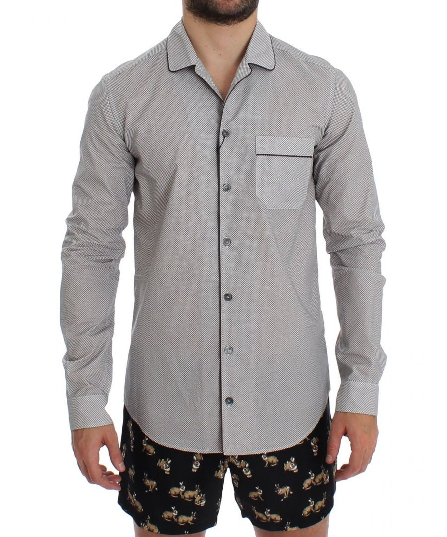 Image for Dolce & Gabbana White Brown Cotton Pajama Shirt Sleepwear
