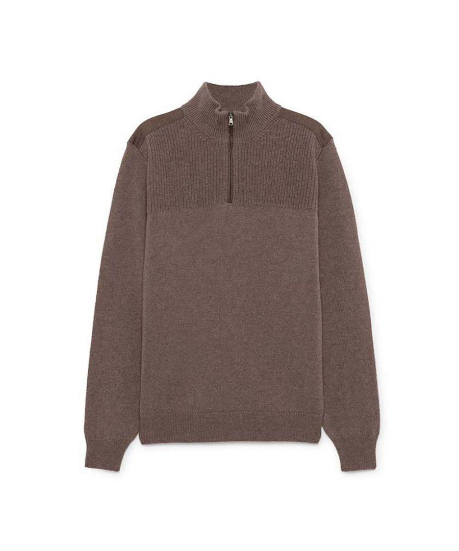 Image for Men's Hackett, Half Zip Flannel Trim Sweater in Taupe
