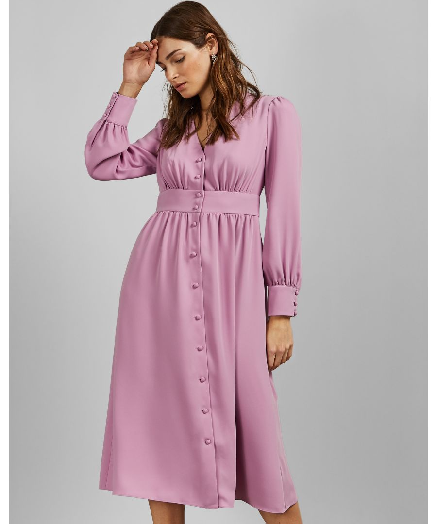Image for Ted Baker Jesicar Long Sleeve Deep V Midi Dress, Dusky Pink