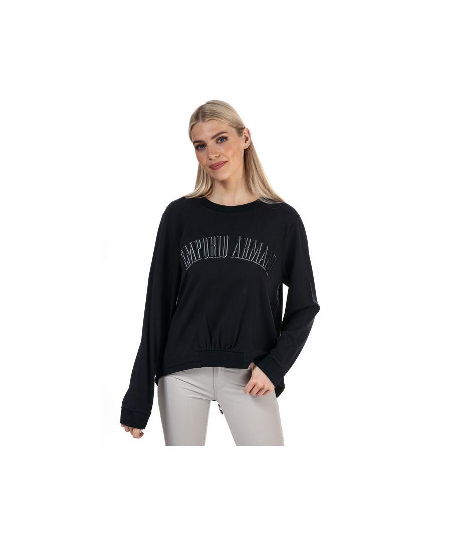 Image for Women's Armani Large Logo Sweatshirt in Navy