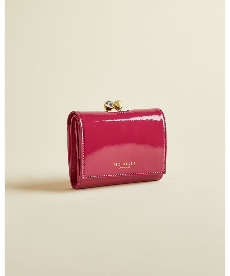 Image for Ted Baker Emeey Patent Leather Mini Bobble Clasp Purse, Deep Pink