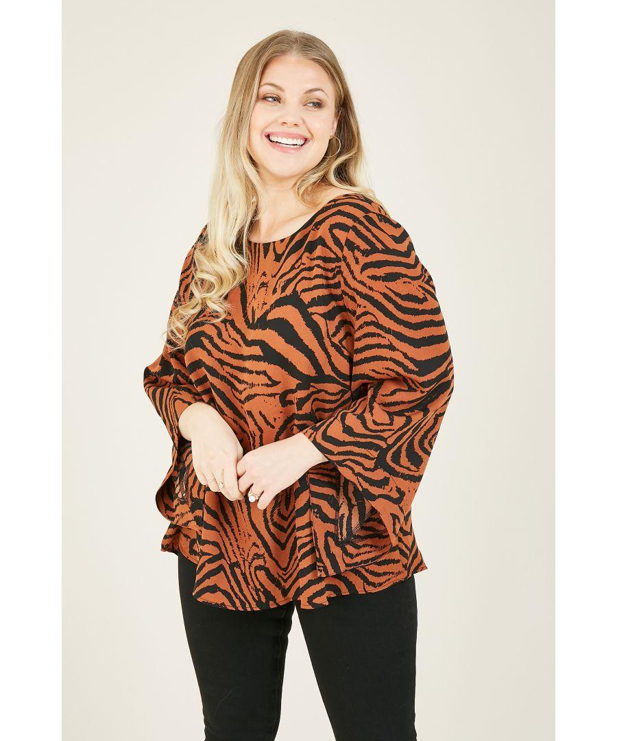 Image for Mela London Curve Animal Printed Long Sleeve Blouse