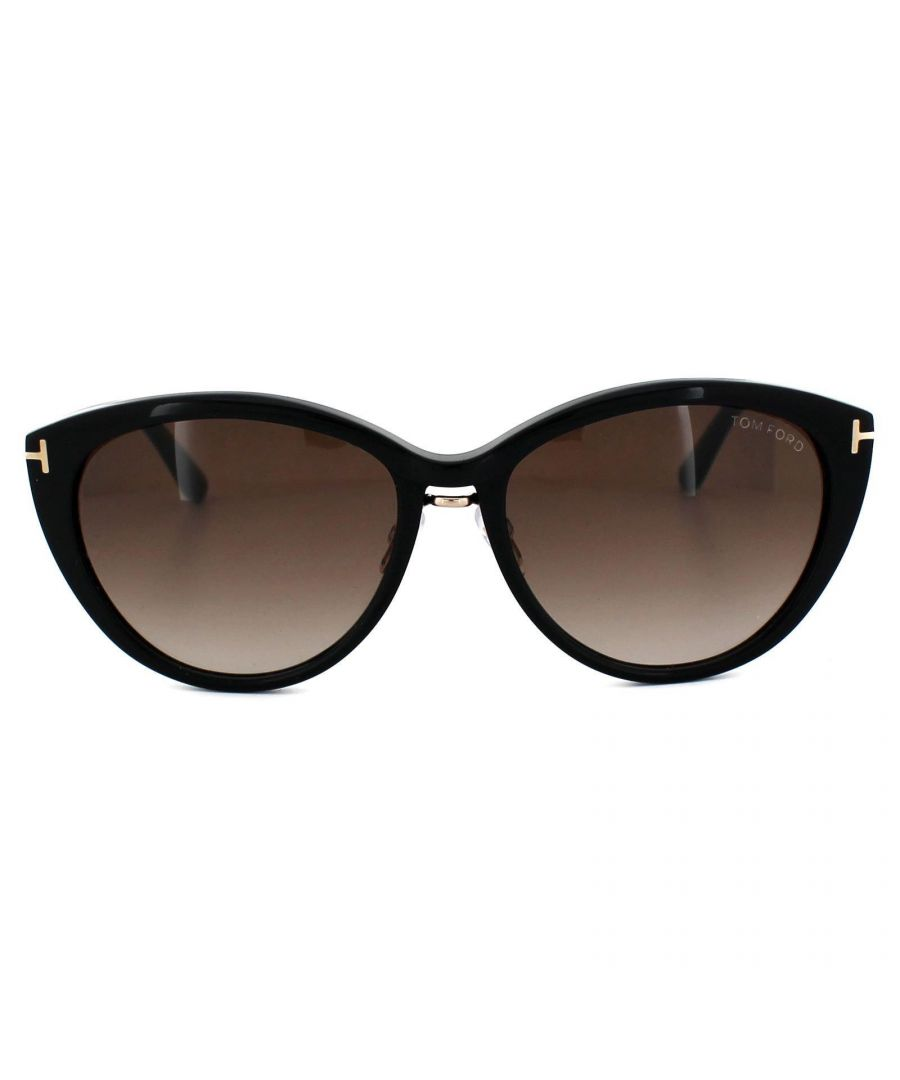 Image for Tom Ford Sunglasses 0345 Gina 01B Shiny Black Smoke Gradient