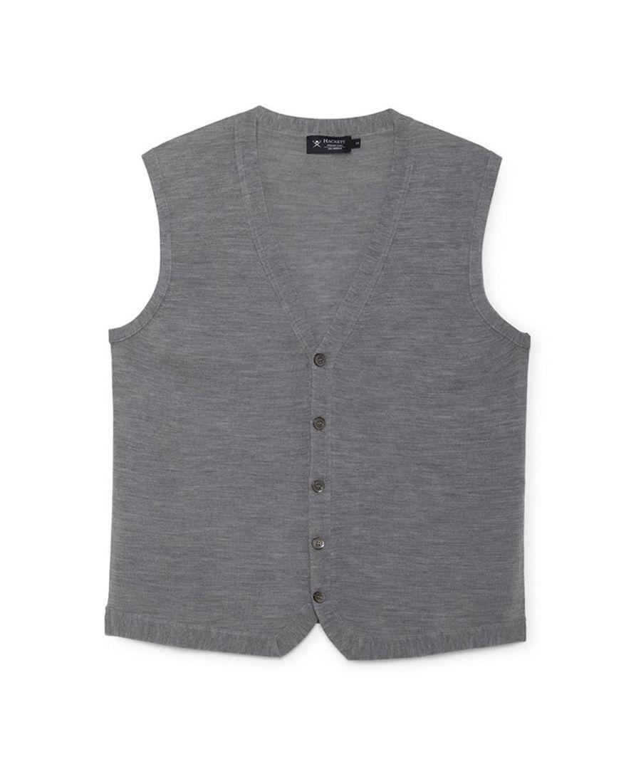 Image for Men's Hackett, FF GG Merino Wool Gilet in Steel Grey