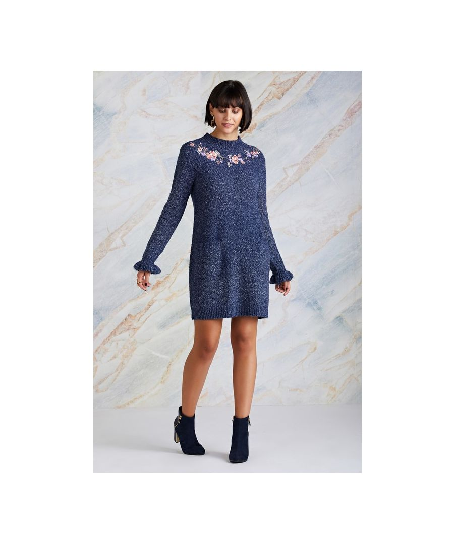 Image for Navy Floral Embroidery Pocket Tunic