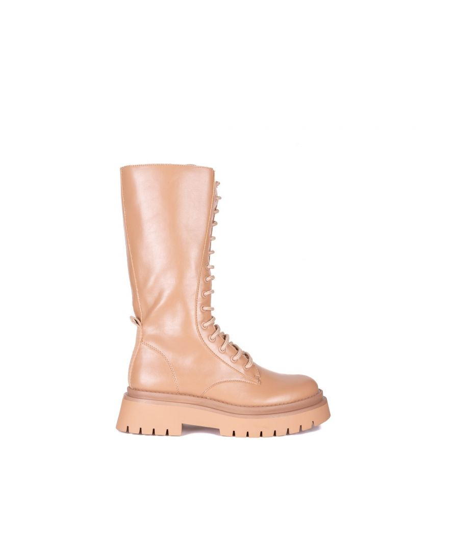 Image for María Barceló Lace-Up Flat Boot in Camel
