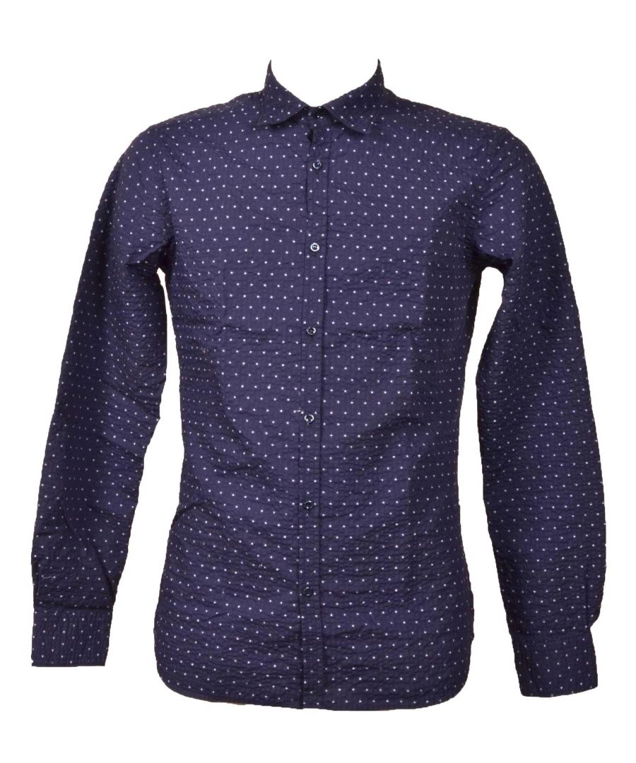 Image for AGLINI MEN'S DAVIDF816362 BLUE COTTON SHIRT