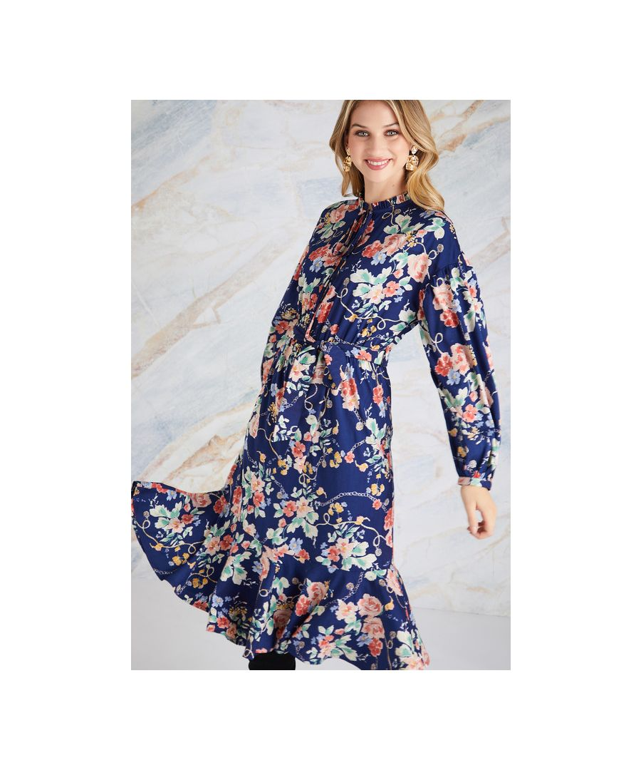 Image for Navy Rose And Chain Print Midi Dress With Frill