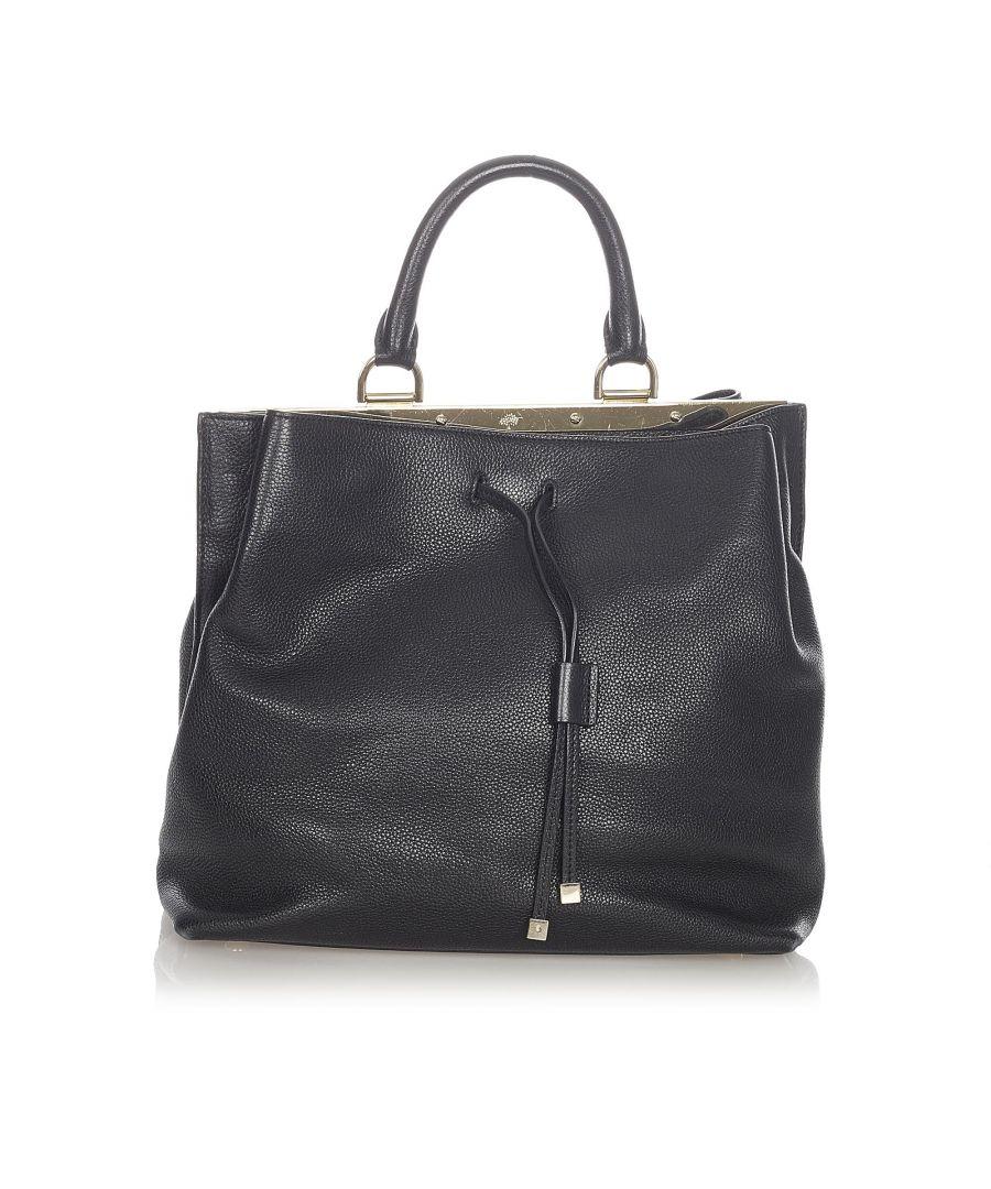 Image for Vintage YSL Leather Drawstring Bucket Bag Black