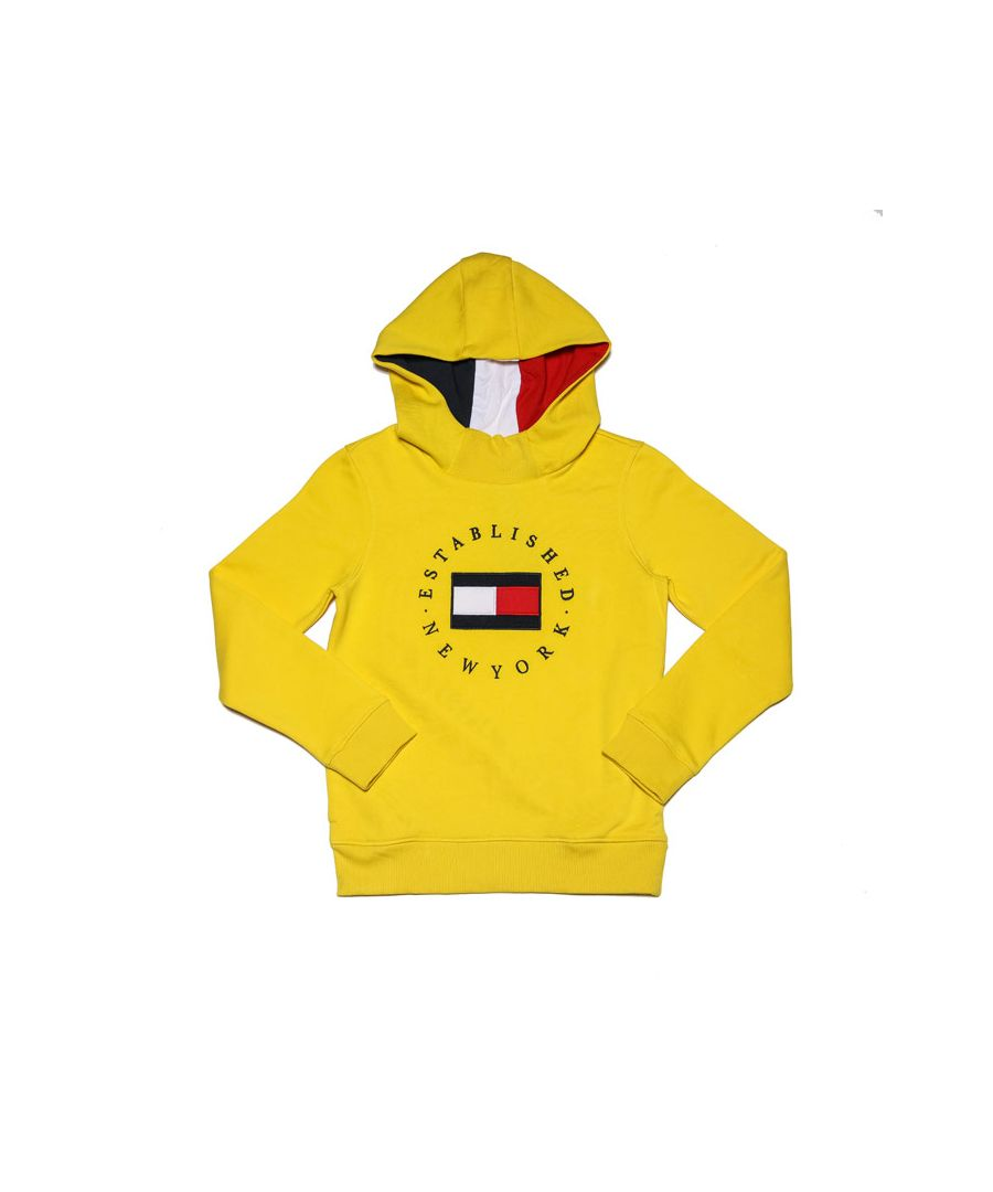 Image for Boys' Tommy Hilfiger Junior Logo Embroidery Fleece Hoodie in Yellow