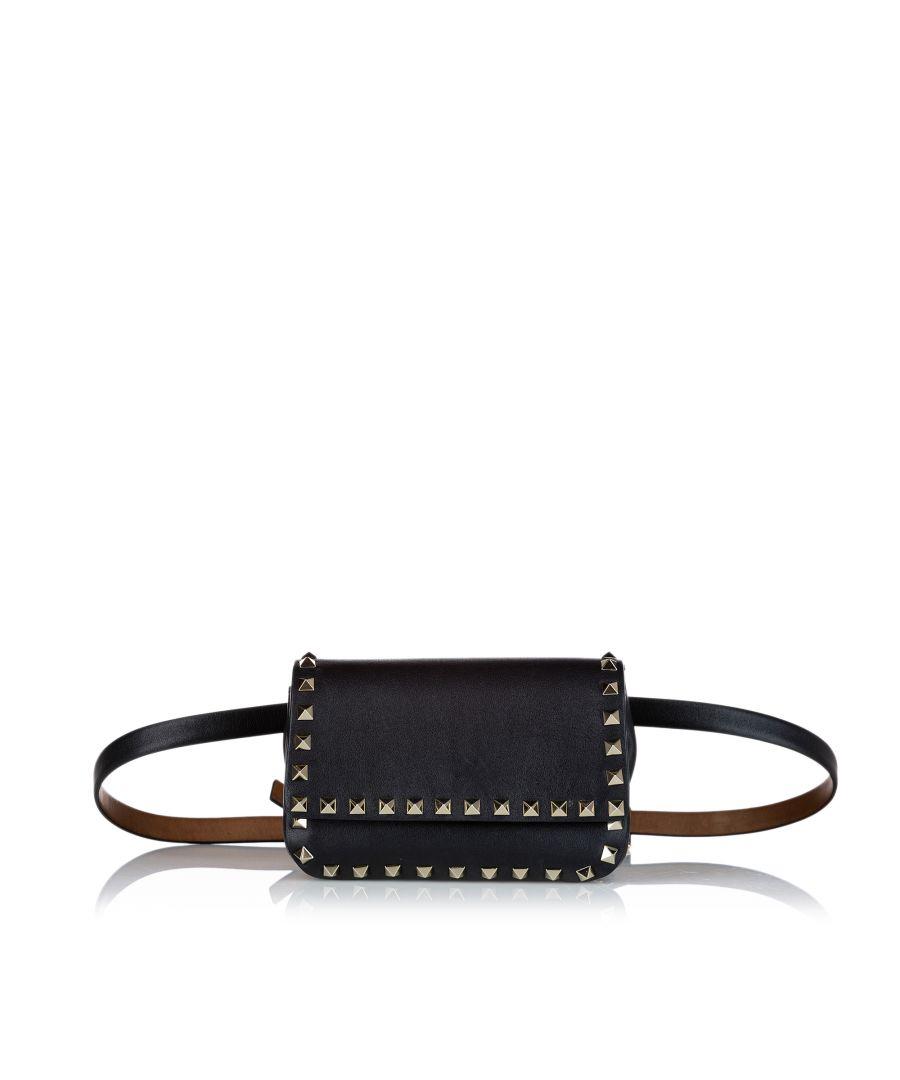 Image for Vintage Valentino Rockstud Leather Belt Bag Black