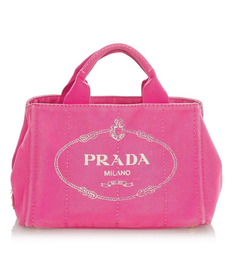 Image for Vintage Prada Canapa Logo Canvas Satchel Pink