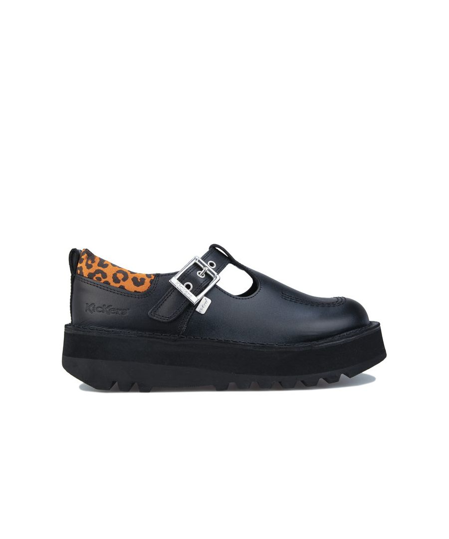 Image for Women's Kickers Kick Stack T-Bar Leather Shoes in Black