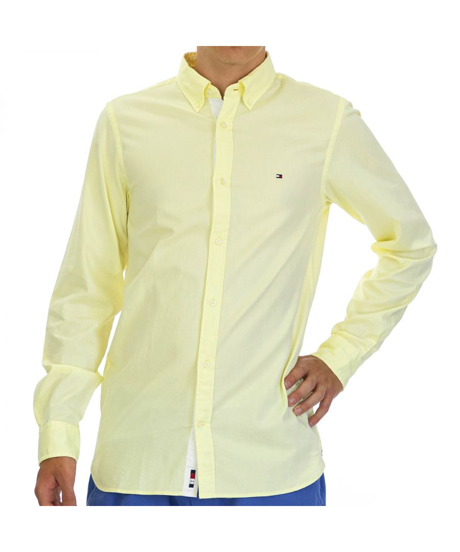 Image for Tommy Hilfiger Men's Shirt Dobby Slim Fit with Long Sleeve Yellow