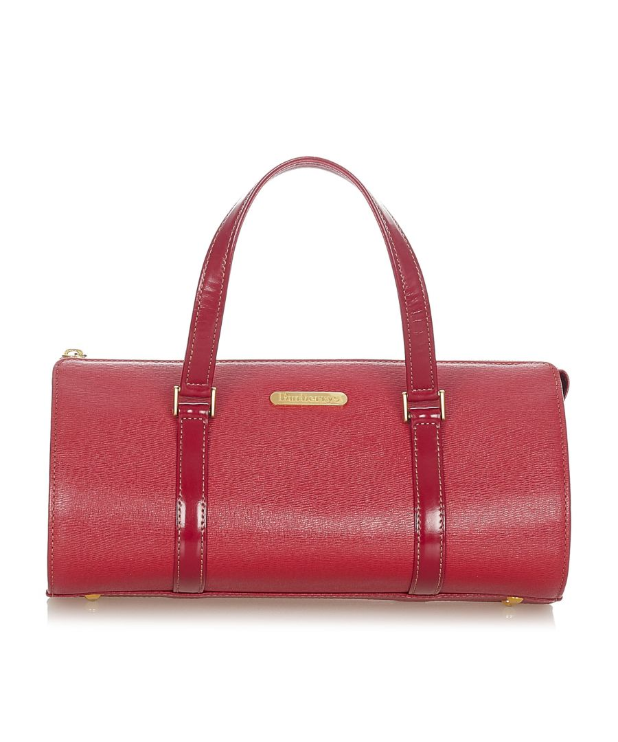 Image for Vintage Burberry Leather Boston Bag Red