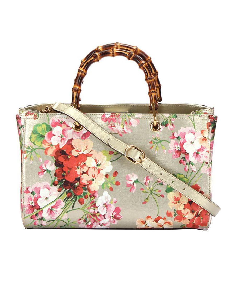Image for Vintage Gucci Blooms Bamboo Shopper Leather Satchel White