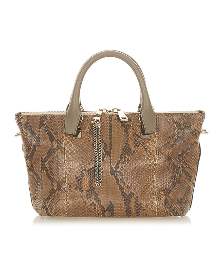 Image for Vintage Chloe Bailey Python Leather Satchel Brown