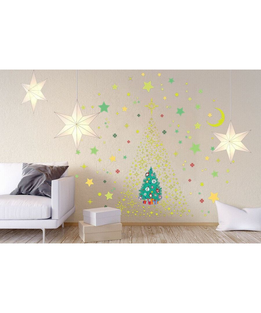 Image for Glow Stars and Moon with Christmas Friend Tree  Christmas Wall Stickers, Kitchen, Bathroom, Living room, Self-adhesive, Decal