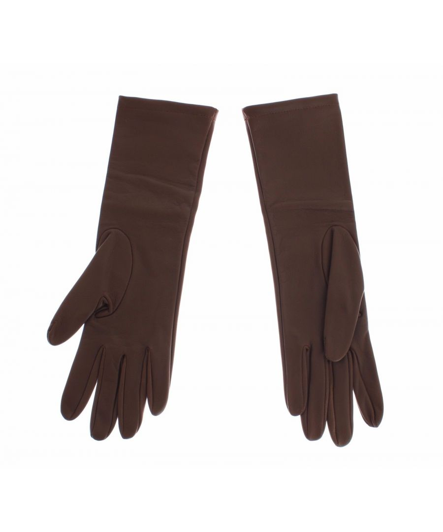 Image for Dolce & Gabbana Brown Leather Wrist Slim Womens Gloves