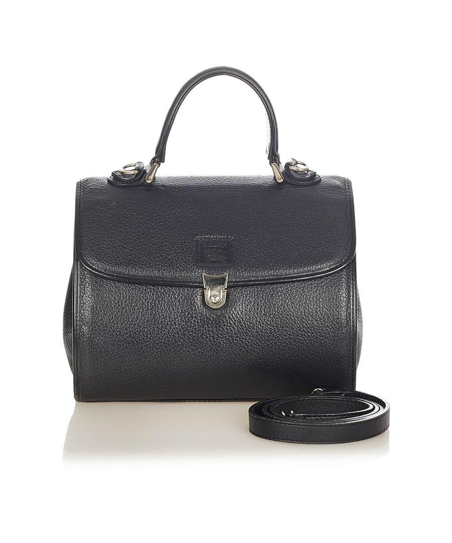 Image for Vintage Burberry Leather Satchel Black