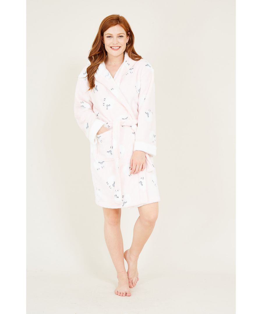 Image for Yumi Pink Sheep Fleece Hooded Robe