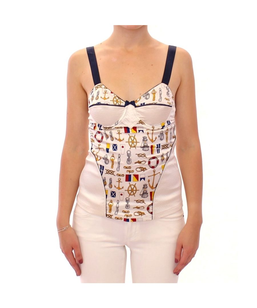Image for Dolce & Gabbana White sailor motive tank top