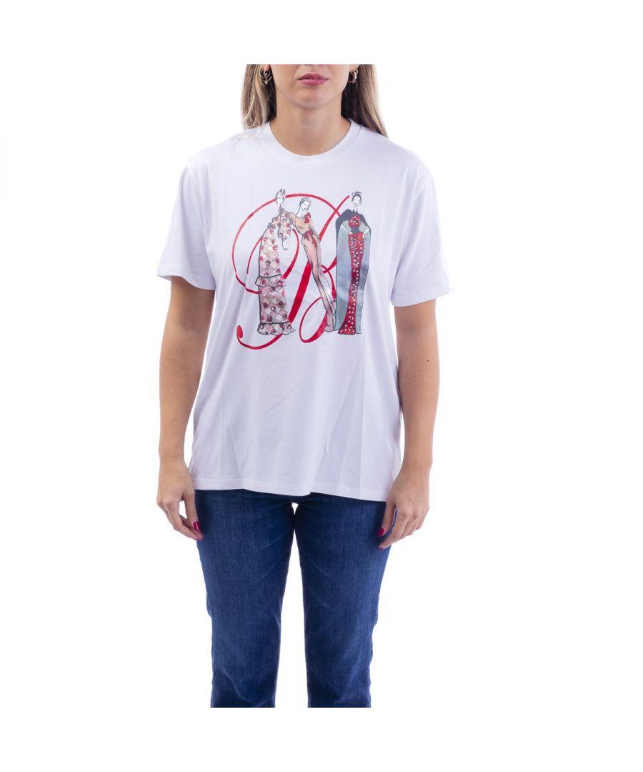 Image for BLUMARINE WOMEN'S 1634000107 WHITE COTTON T-SHIRT