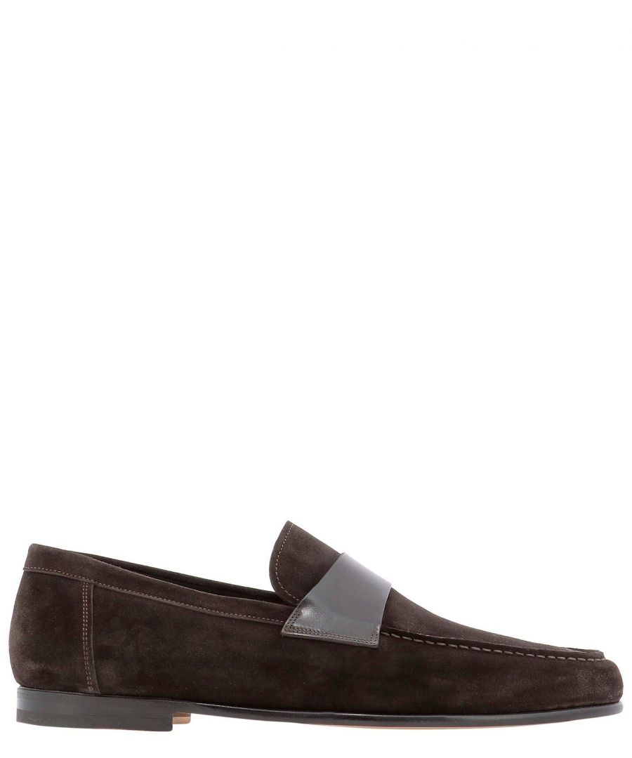 Image for SANTONI MEN'S MCPT16400WA2SOEAT50 BROWN SUEDE LOAFERS