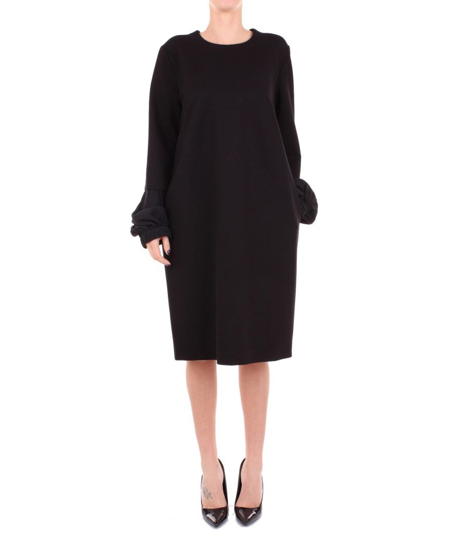 Image for LES COPAINS WOMEN'S 0L5350BLACK BLACK VISCOSE DRESS