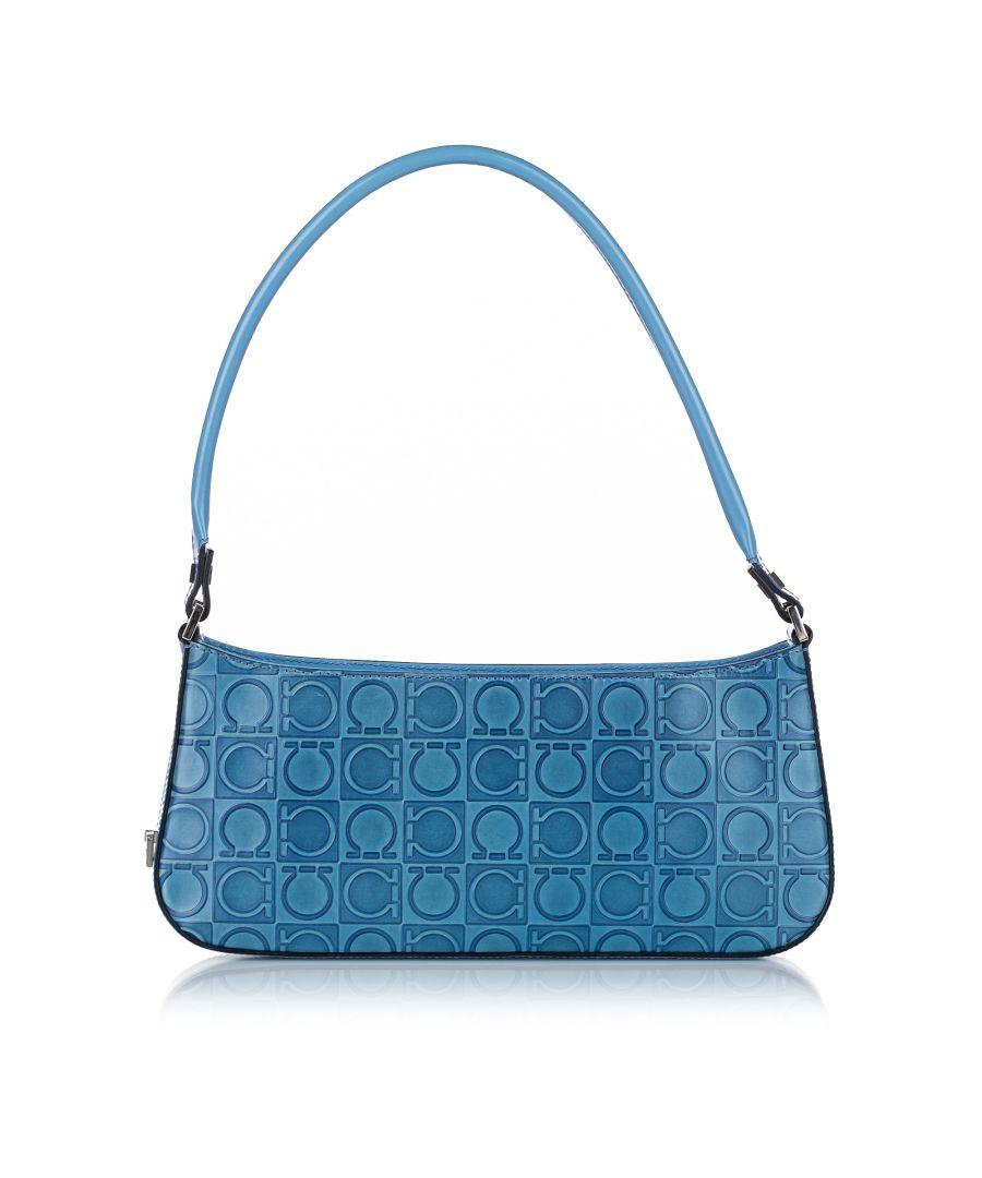 Image for Vintage Ferragamo Gancini Leather Baguette Blue