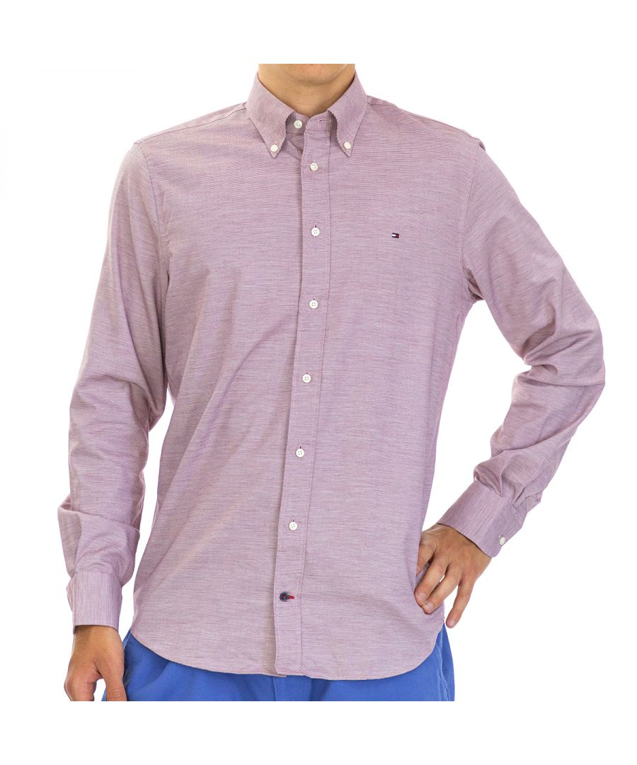 Image for Tommy Hilfiger Men's Shirt Regular Fit with Long Sleeve Red